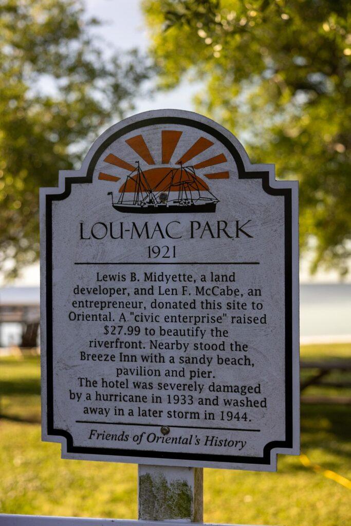 History of Lou Mac Park, Oriental NC